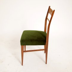 Green Dining Chairs Uk Room Chair Pads Italian Wood And Velvet 1950s Set Of 4