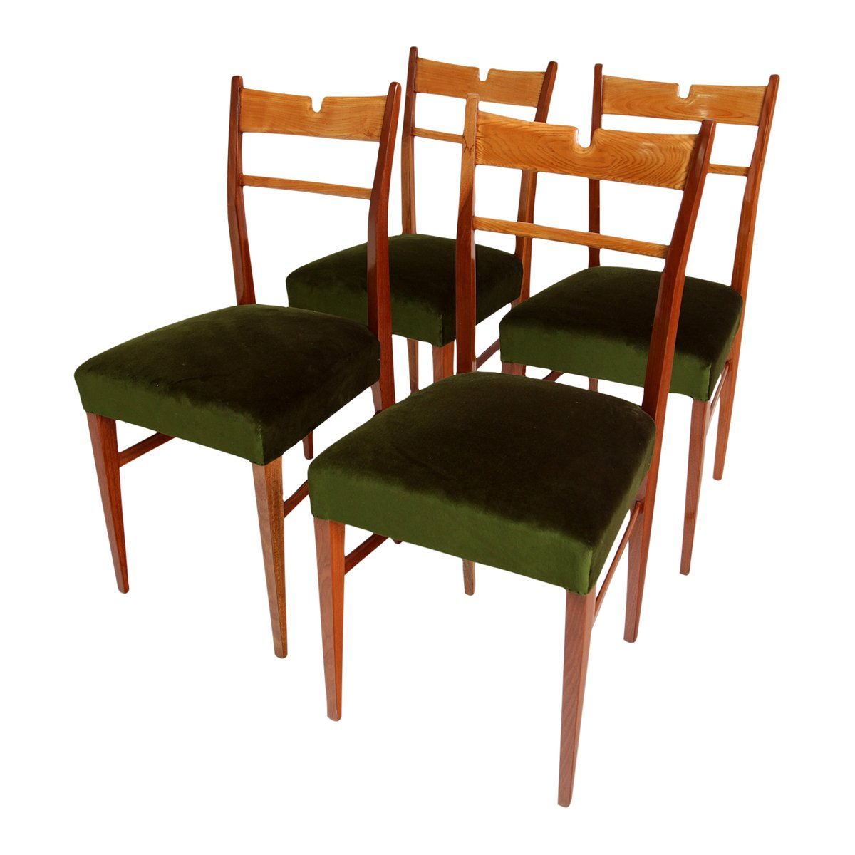 Green Velvet Dining Chairs Italian Wood And Green Velvet Dining Chairs 1950s Set Of 4