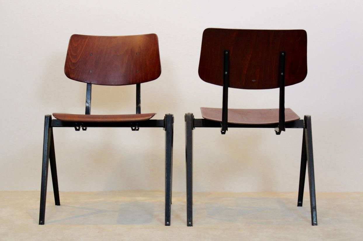 industrial dining chair vintage high back stackable s16 from