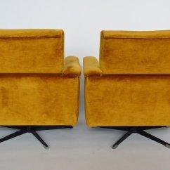 Swivel Chair Mustard Yellow Hand Mid Century Swiss Club Chairs In Velvet 1960s Set