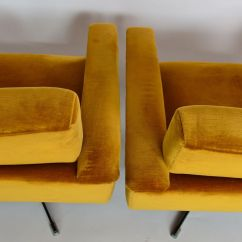 Swivel Chair Mustard Yellow High Back Chairs For Dining Room Mid Century Swiss Club In Velvet 1960s Set