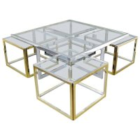 Vintage Large Glass and Metal Coffee Table for sale at Pamono