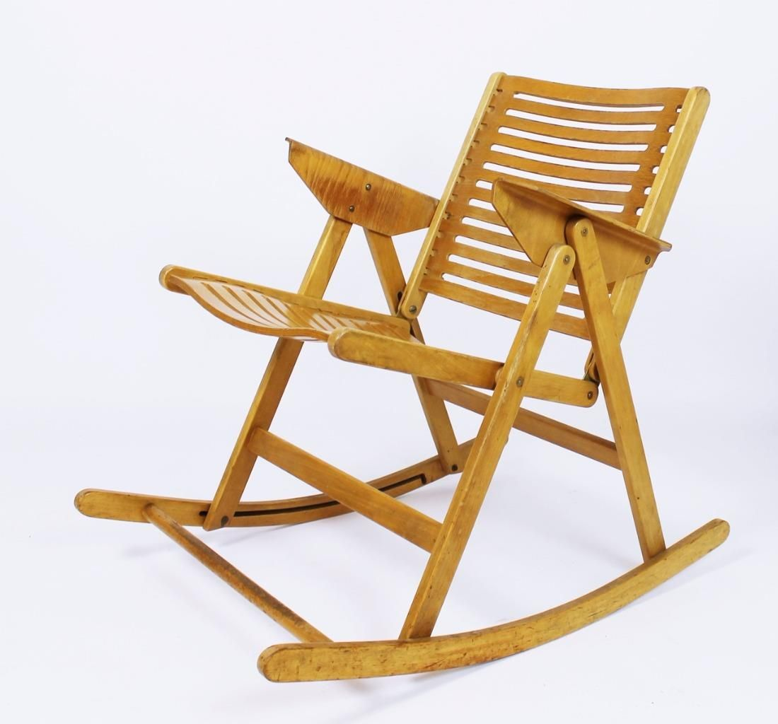antique folding rocking chair value wood and leather vintage rex by niko kralj for sale