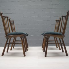 Set Of 4 Chairs Two Person Bean Bag Chair Vintage Wooden Dining 1950s For Sale At
