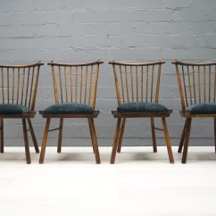 Set Of 4 Dining Chairs High Back Patio Vintage Wooden 1950s For Sale At