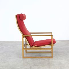 Red Lounge Chair Wood Side Chairs By Borge Mogensen For Fredericia