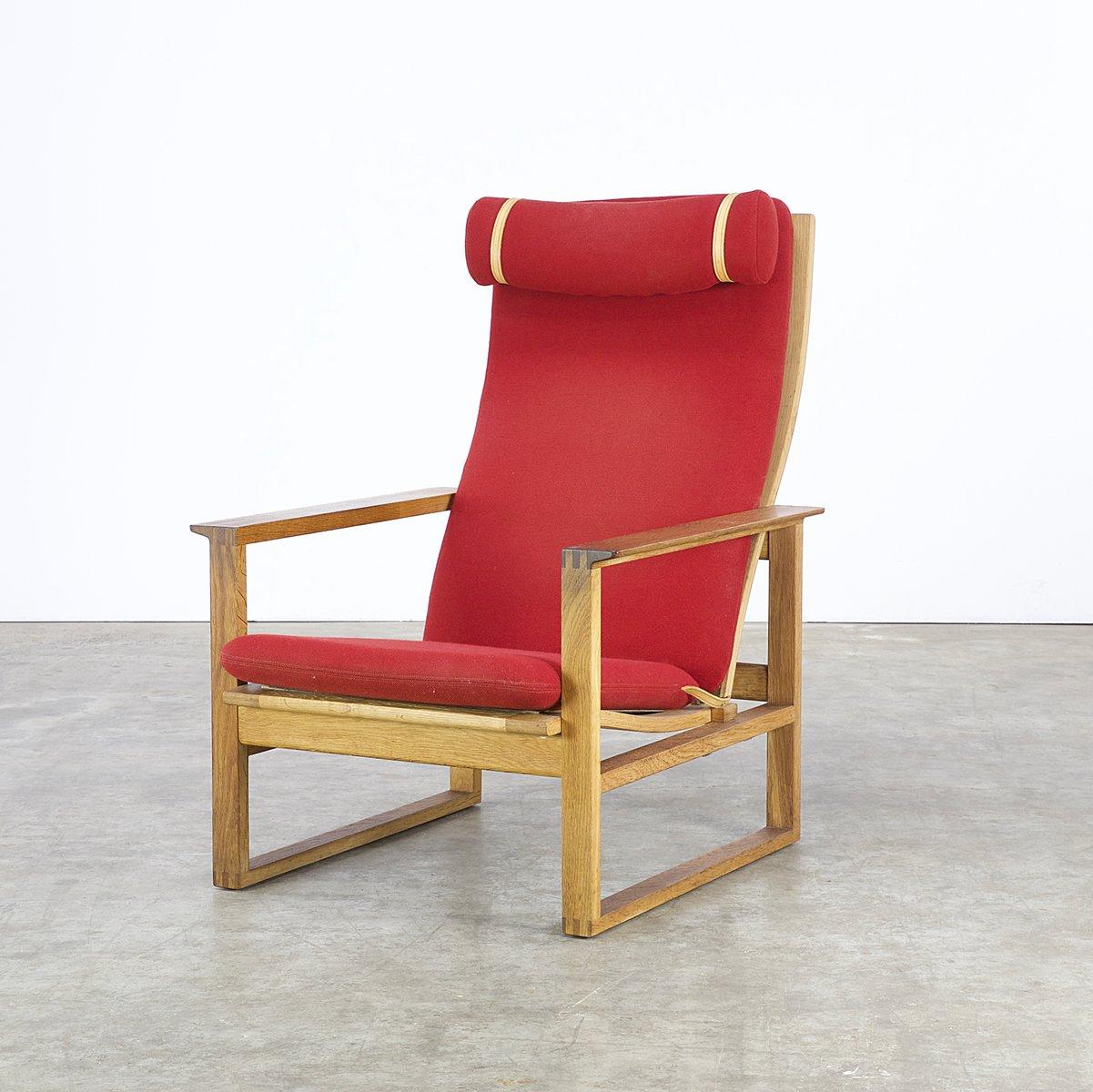 red lounge chair full body shiatsu massage by borge mogensen for fredericia