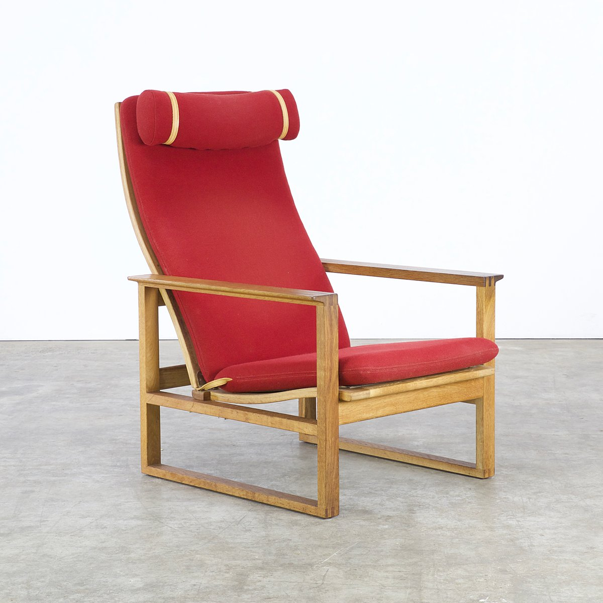 red lounge chair parson chairs by borge mogensen for fredericia