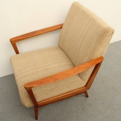 Wooden Lounge Chairs Chair With Bird Fabric Mid Century Solid Cherry Wood 1950s For Sale