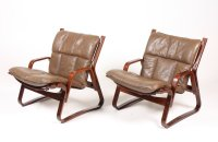 Mid-Century Bentwood and Leather Lounge Chairs, 1960s, Set ...