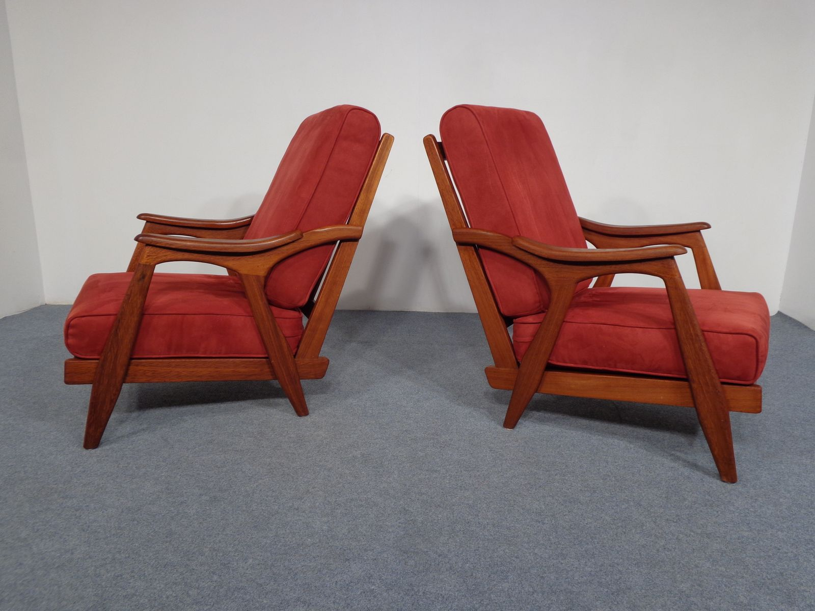 teak chaise lounge chairs sale chair pads for hardwood floors 1950s set of 2 at pamono