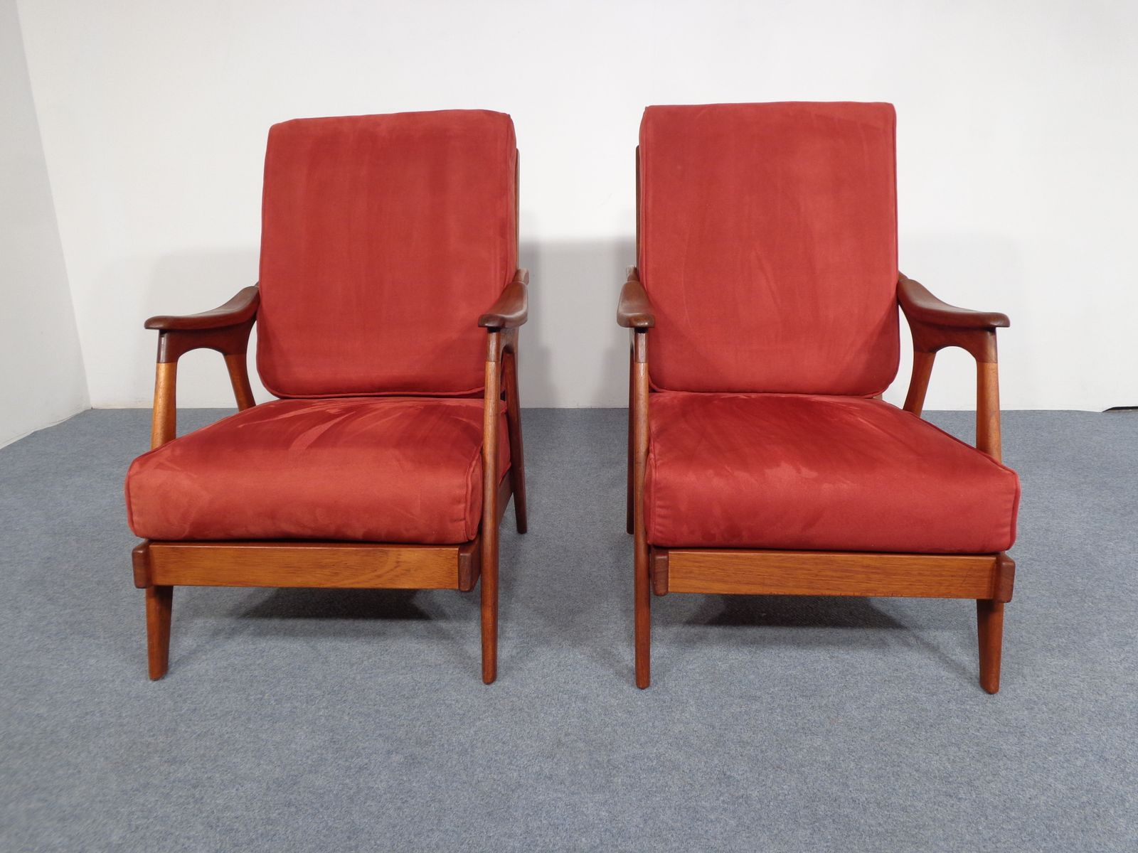 teak chaise lounge chairs sale barber shop for used 1950s set of 2 at pamono