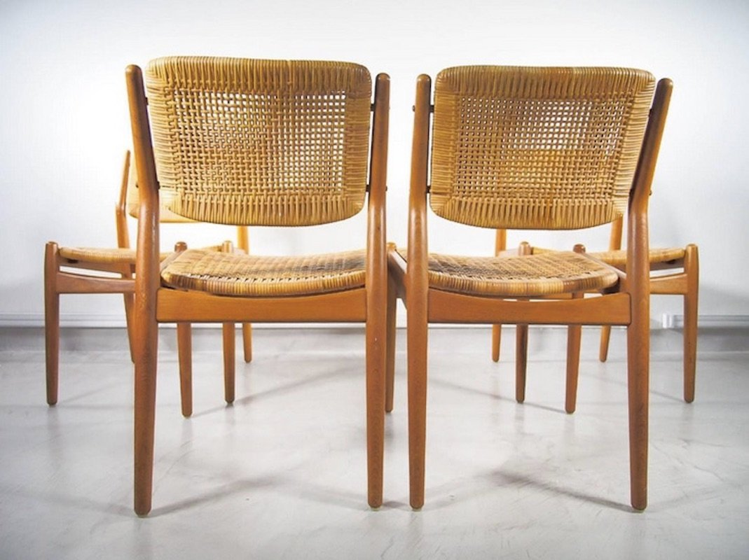 Vintage Rattan Chairs Vintage Rattan Dining Chairs By Arne Vodder And Anton Borg