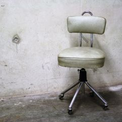 Vintage Dentist Chair Desk Clear Chromed Steel And Skai 1960s For