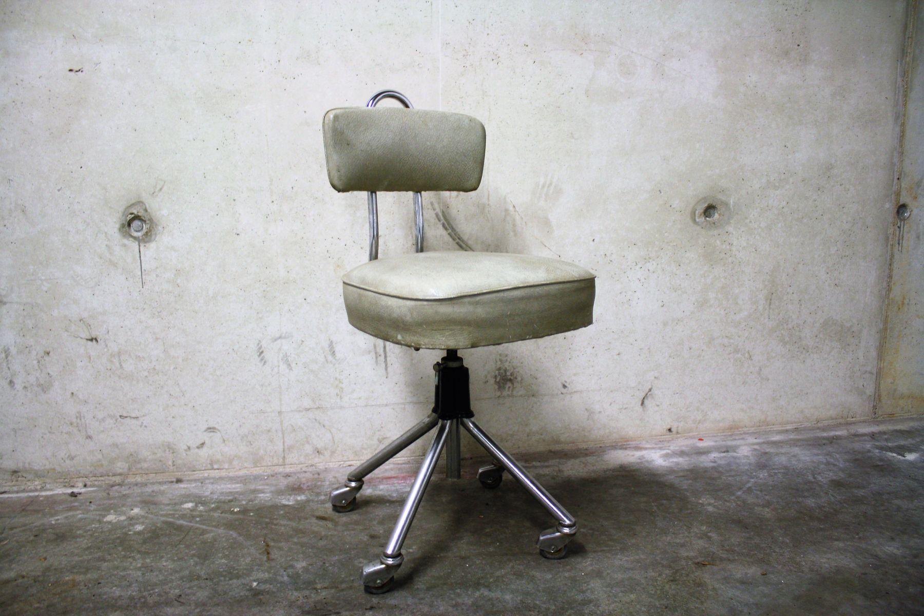 vintage dentist chair king kong folding chromed steel and skai 1960s for
