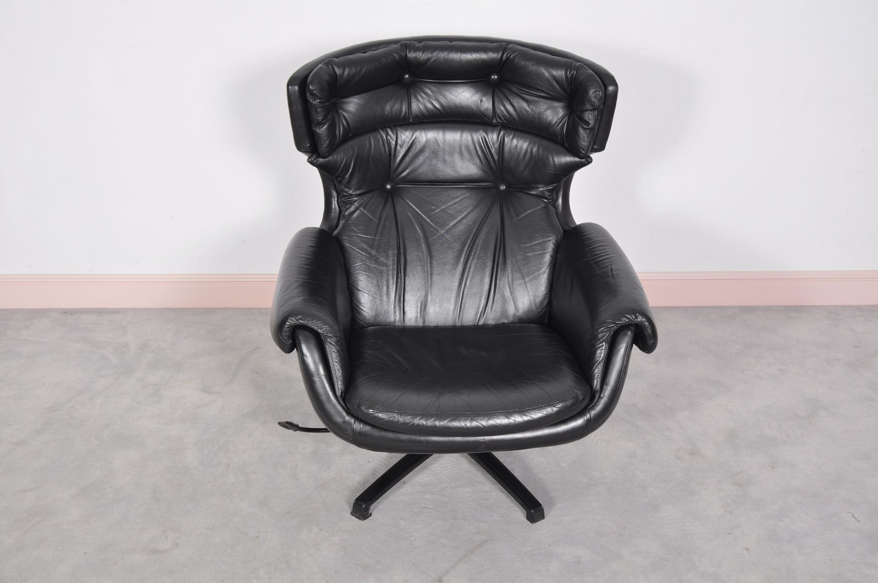 black leather swivel lounge chair stokke steps mid century modern swedish
