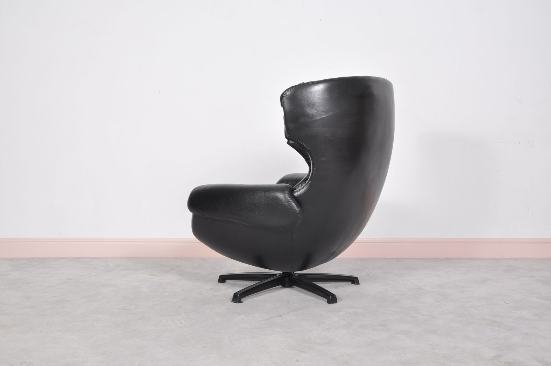 black leather swivel lounge chair swing photos mid century modern swedish