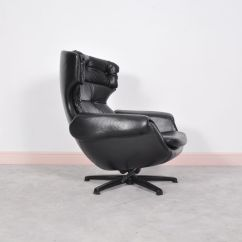 Black Leather Swivel Lounge Chair Used Dog Wheelchair Mid Century Modern Swedish