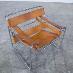 Wassily Chair Brown Leather Used Herman Miller Chairs B3 Cognac By Marcel Breuer For