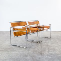 Wassily Chair Brown Leather Power Chairside End Table B3 Cognac Chairs By Marcel Breuer For