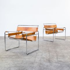 Wassily Chair Brown Leather Neutral Posture Ergonomic B3 Cognac Chairs By Marcel Breuer For