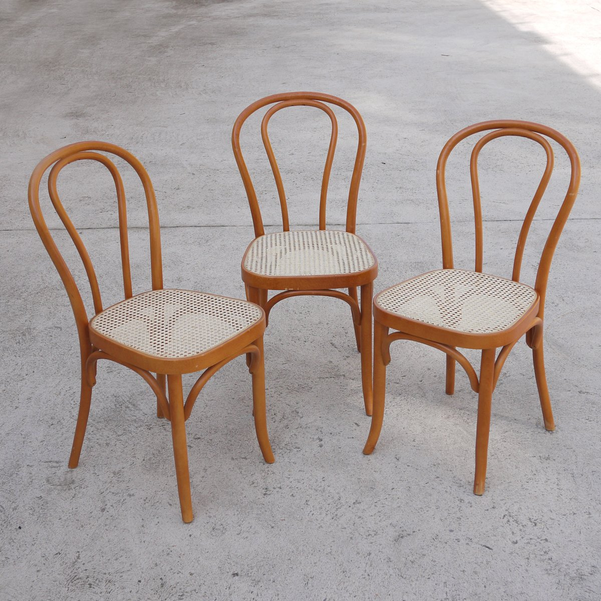 Vintage Rattan Chairs Vintage Bentwood Rattan Dining Chairs Set Of 3 For Sale