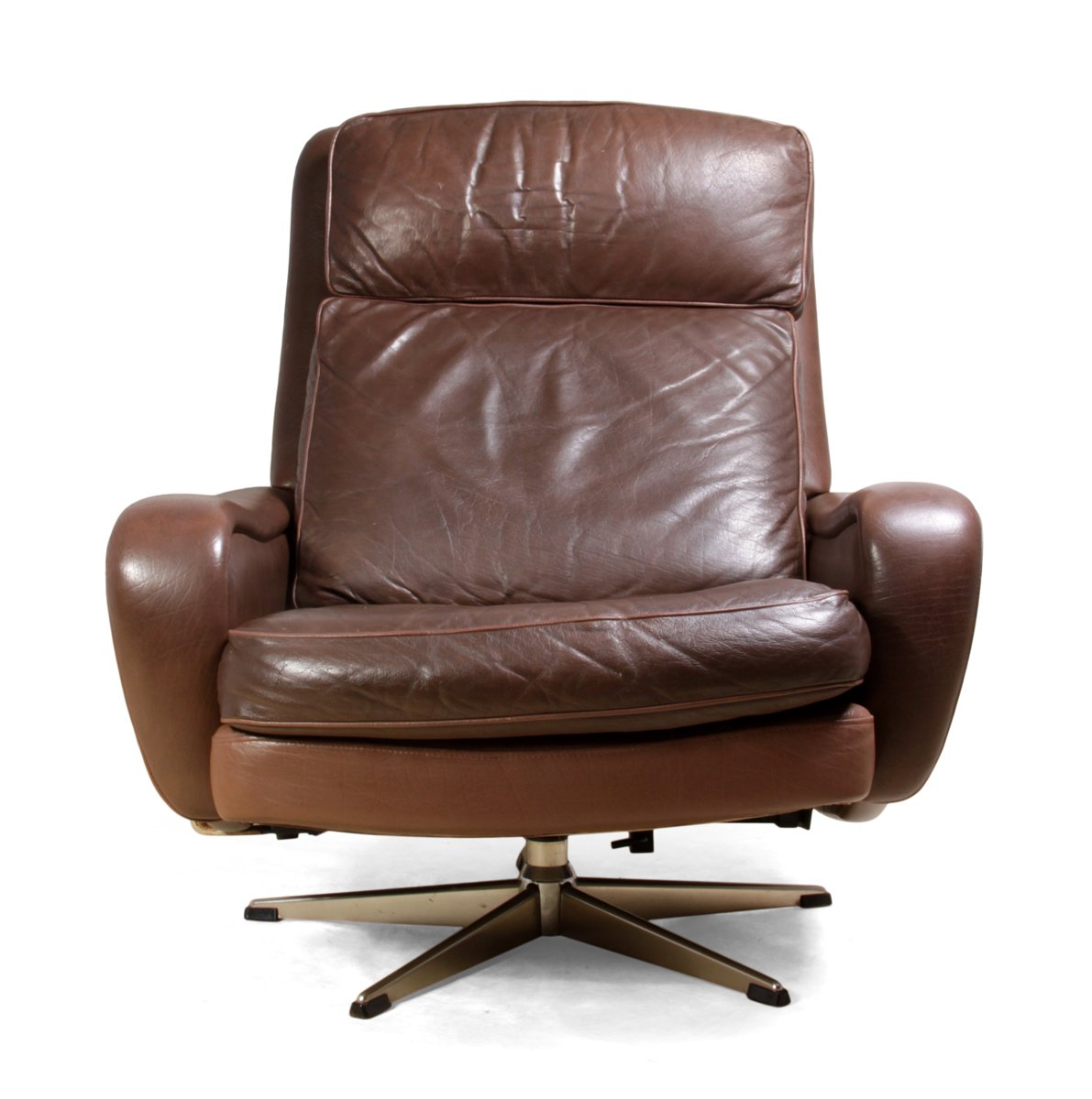 Danish Leather Reclining Swivel Man Cave Chair 1970s for