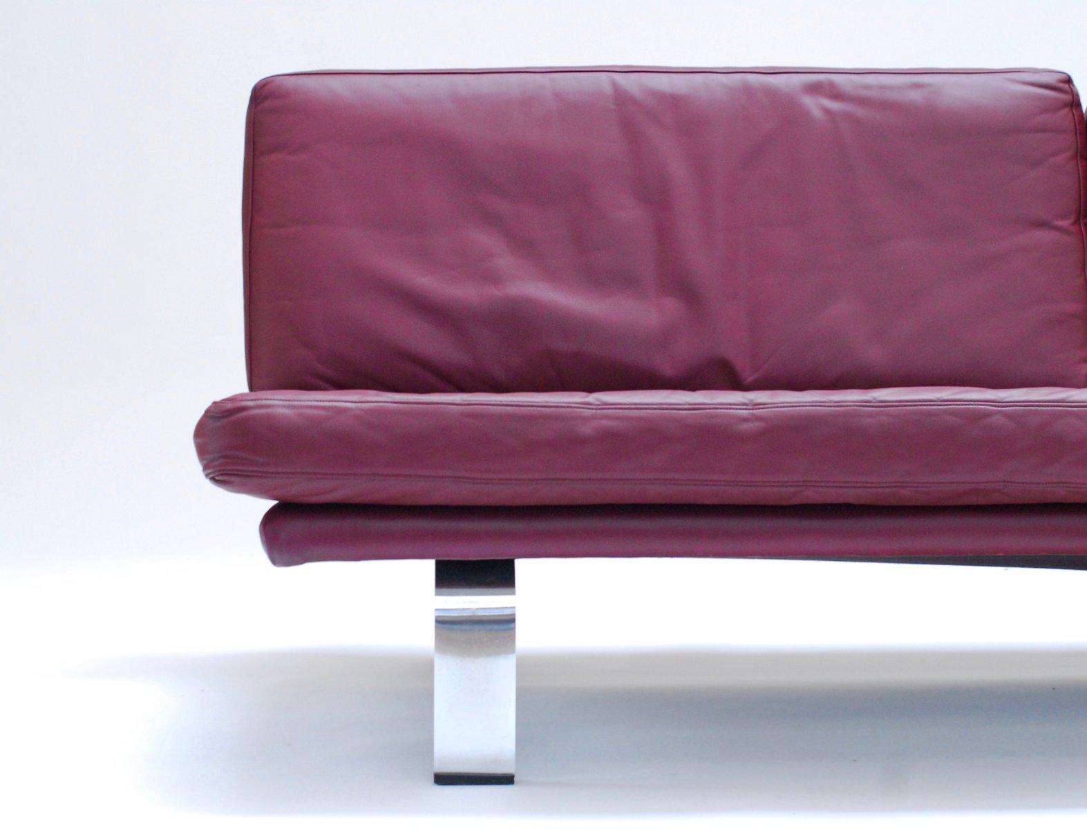 plum leather sofa small two seater  thesofa