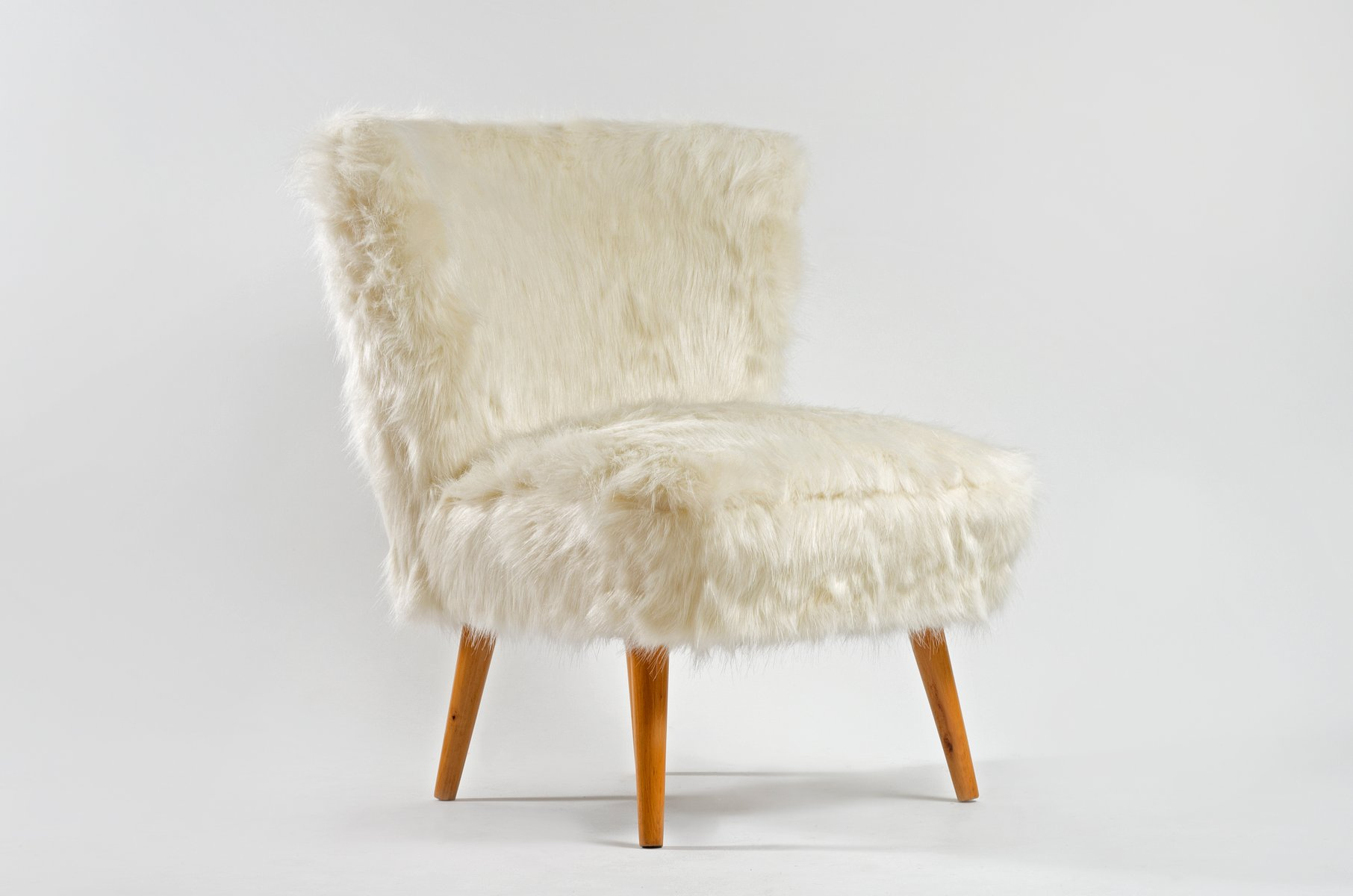 faux fur chair cover covers for plastic outdoor chairs mid century white cocktail sale at pamono