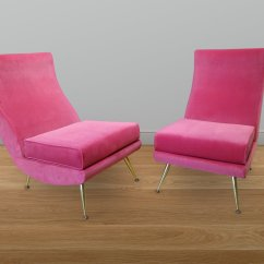 Pink High Chairs Upholstered Accent With Arms Italian Backed Set Of 2 For Sale At Pamono