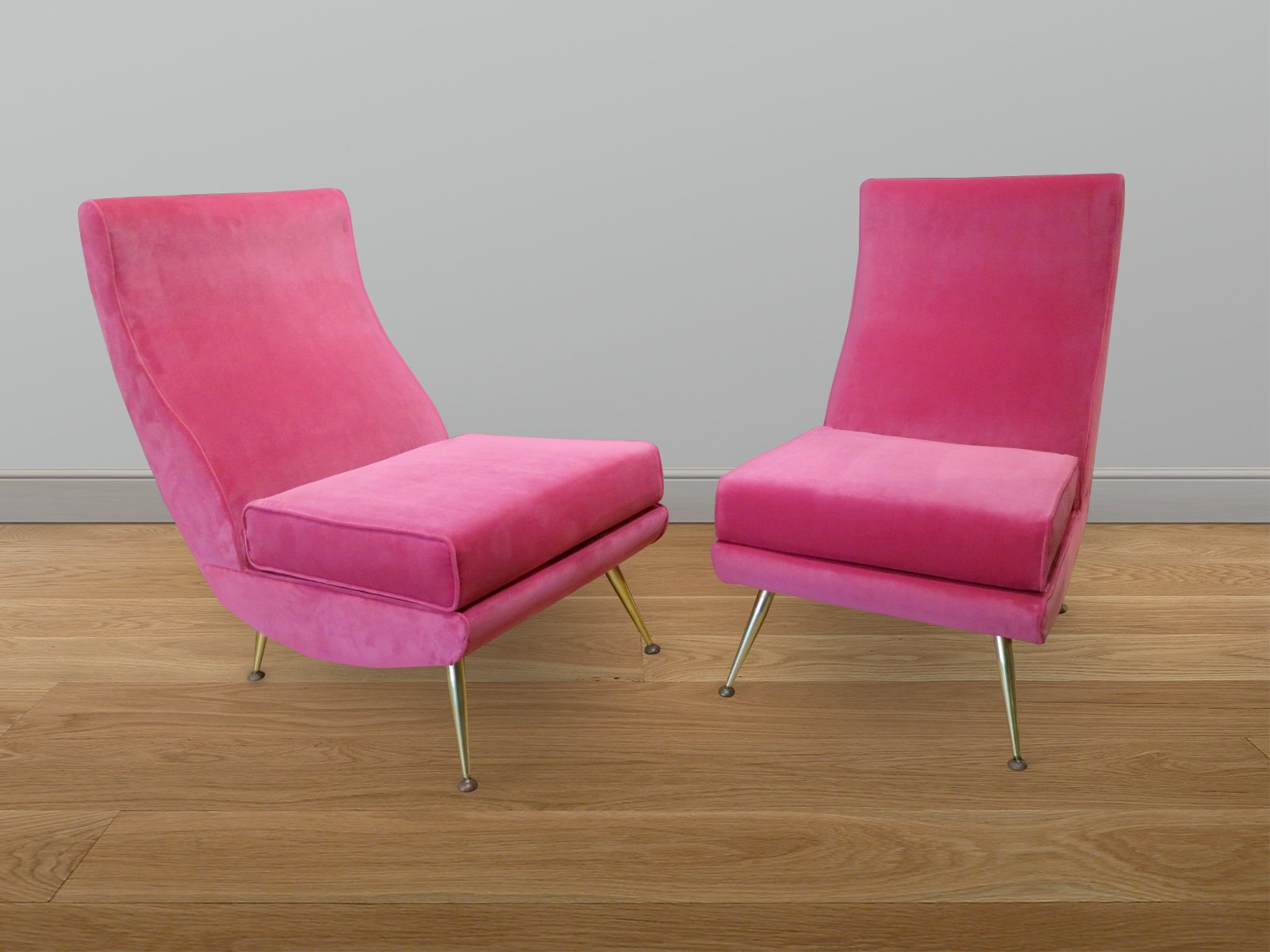 pink high chairs circle shaped chair italian backed set of 2 for sale at pamono