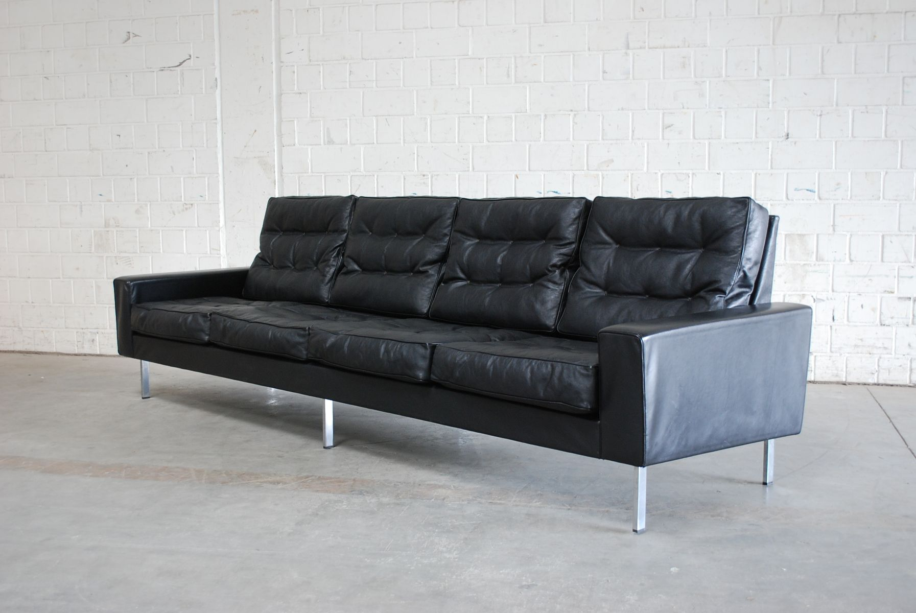 leather sofa manufacturers italy danish melbourne vintage black 4-seater from de sede, 1967 for ...