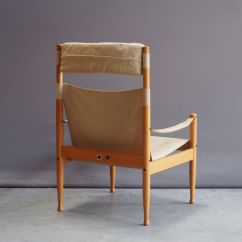 Safari High Chair Steel Construction Mid Century Beech And Canvas By Erik Wørts For