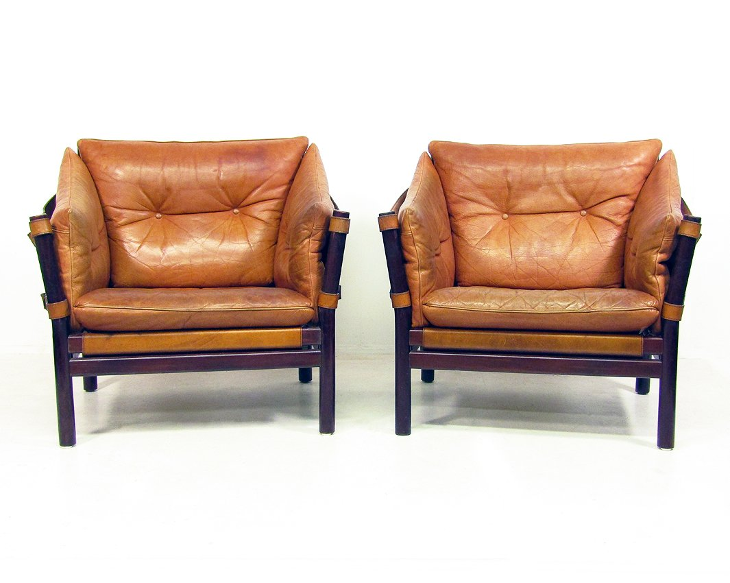 tan leather chair sale folding for elderly ilona chairs in by arne norell 1960s set of