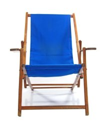 Blue Vintage Adjustable Beach Chair for sale at Pamono