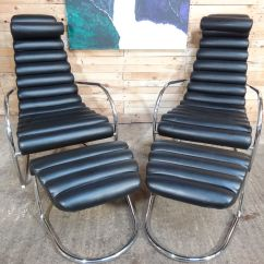 Black Leather Lounge Chair With Ottoman Hanging Usa Italian Tubular