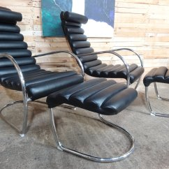 Black Leather Lounge Chair With Ottoman Covers For Recliner Chairs Italian Tubular