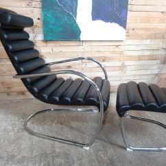 Black Leather Lounge Chair With Ottoman Mid Century Danish Italian Tubular