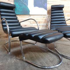 Black Leather Lounge Chair With Ottoman Koch Barber Chairs Italian Tubular