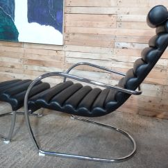 Black Leather Lounge Chair With Ottoman Outdoor Chairs And Tables Italian Tubular