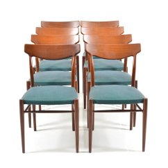 Set Of 8 Dining Chairs Gym Equipment Captains Chair Mid Century Teak From Lübke For