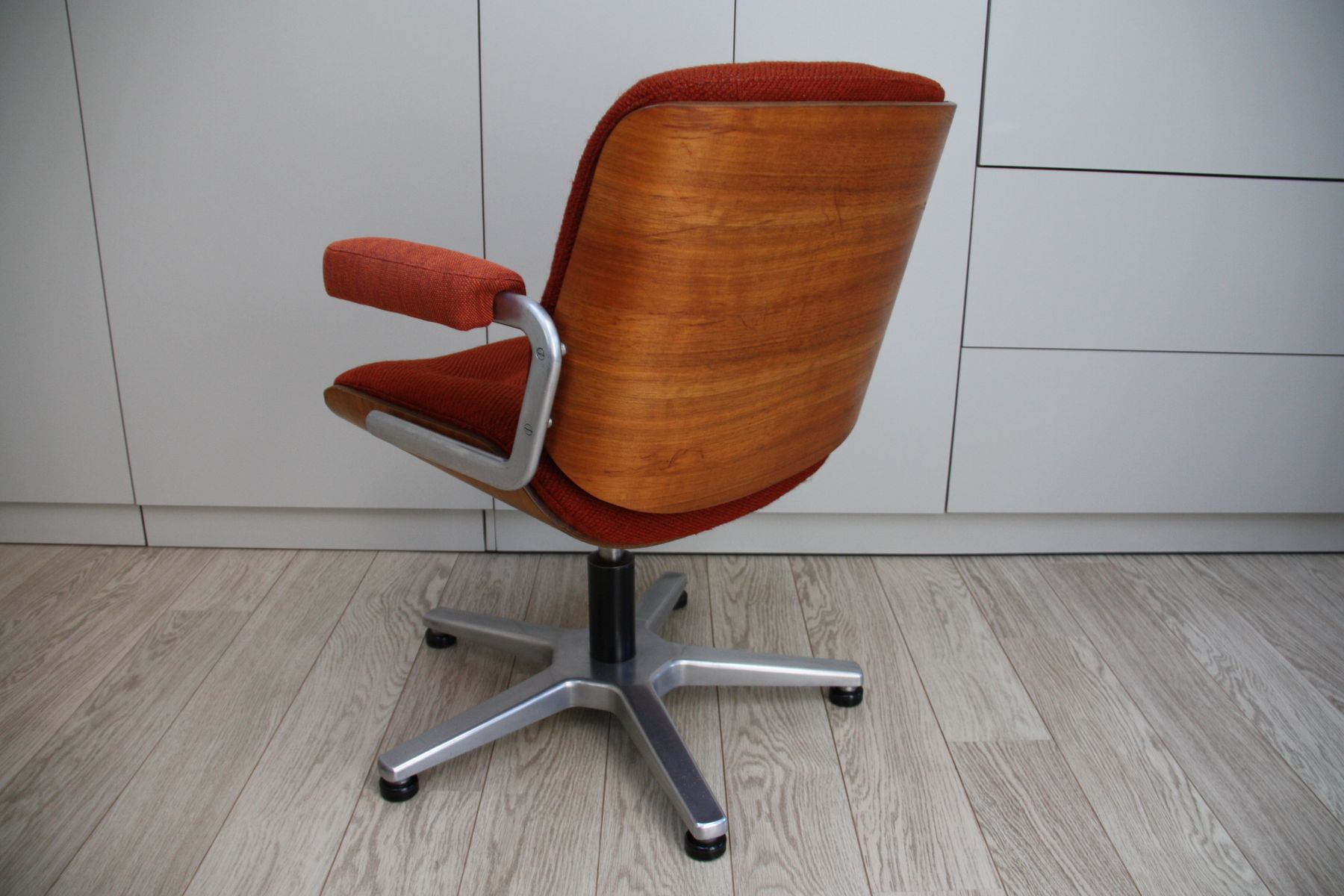 office chair orange aeron gas cylinder replacement vintage swivel in bentwood and fabric