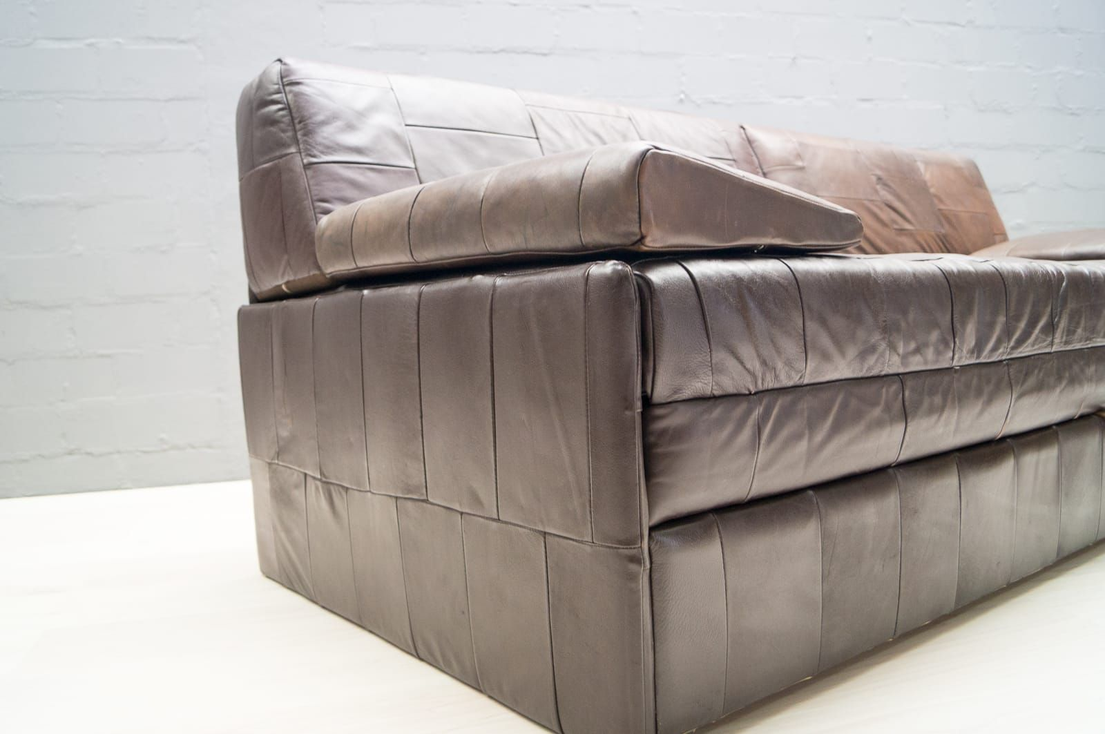 vintage retro style stunning patchwork sofa bed black faux leather set 1960s for sale at pamono