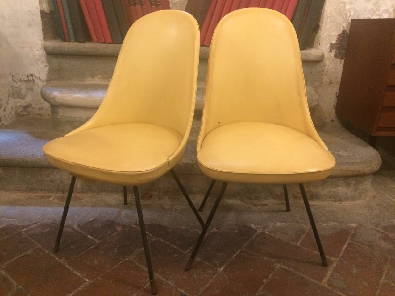 yellow chairs for sale travel potty chair leather from lenzi 1950s set of 2