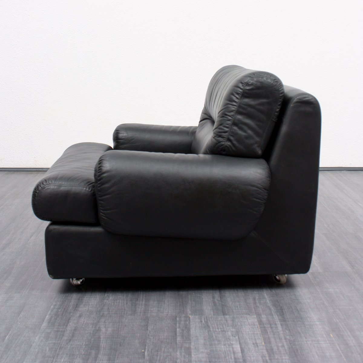 Black Leather Lounge Chair Vintage Black Leather Lounge Chair 1970s For Sale At Pamono