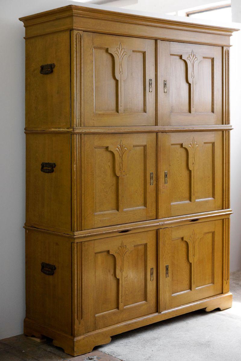 ThreePart Art Nouveau Beer Glazed Cabinet 1910s for sale