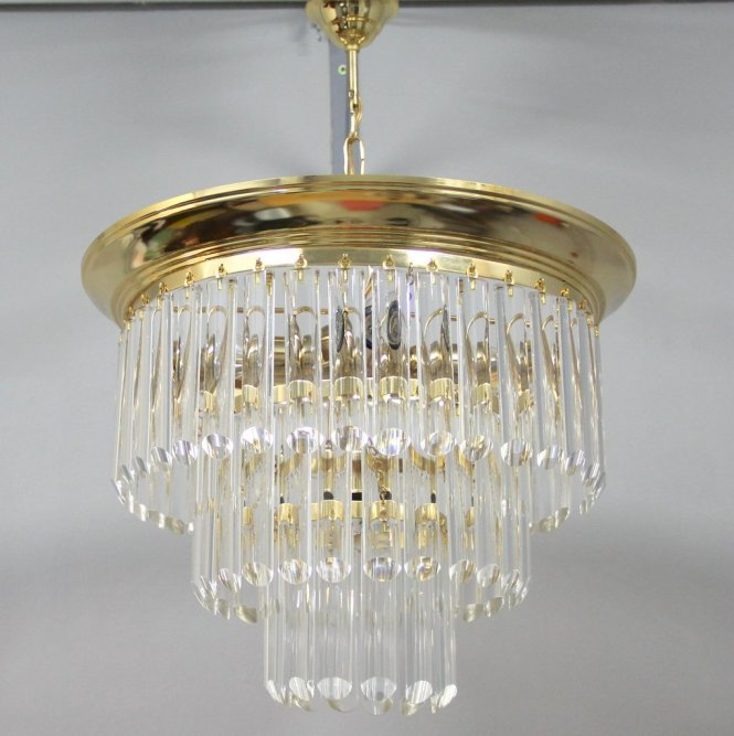 Vintage Chandelier With Bohemian Glass 1970s