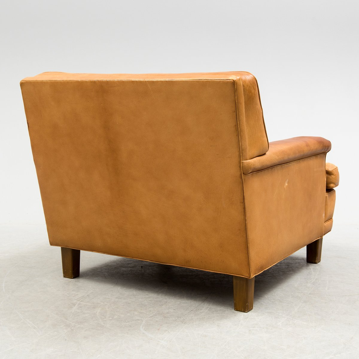 buffalo leather chair office ball chairs mexico easy by arne norell 1970s