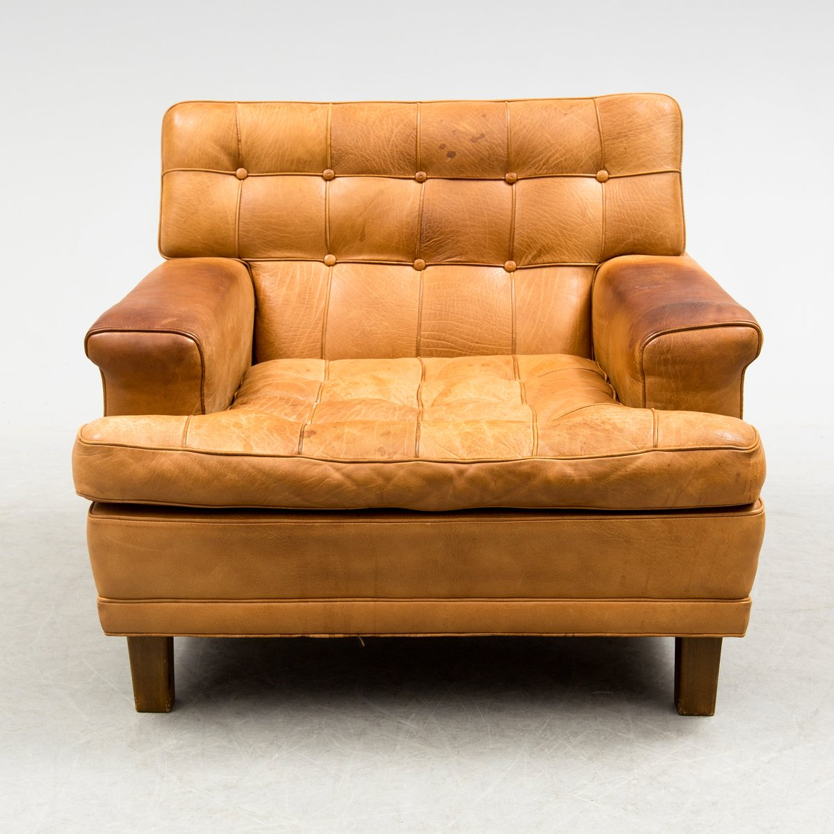 buffalo leather chair swivel leons mexico easy by arne norell 1970s