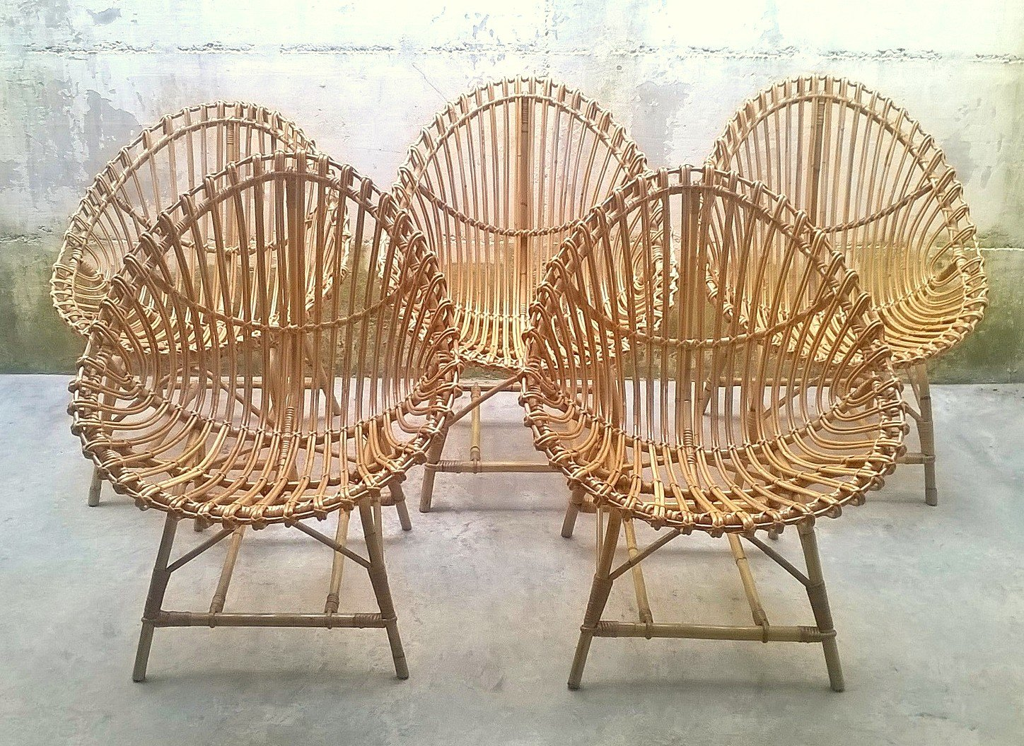 Rattan Egg Chairs Italian Rattan Egg Shaped Chairs 1950s Set Of 5 For Sale